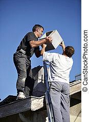 dachdecker, schornstein, installieren