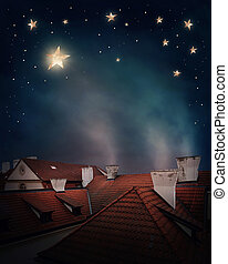 dachenden, himmelsgewölbe, nacht