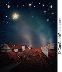 dachenden, und, nacht himmel