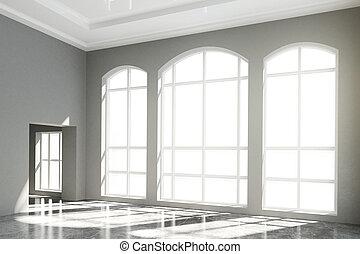 dachgeschoss, inneneinrichtung, mit, groß, windows, und, betonieren boden