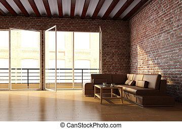 dachgeschoss, inneneinrichtung, mit, ziegelmauer