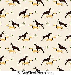 dachshund and doberman dog pattern - Seamless pattern with...