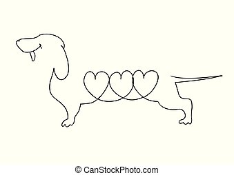 dachshund, beeld, hearts., lineair, origineel