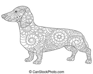 Dachshund coloring book for adults vector illustration....