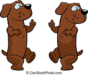 Dachshund Dancing - A happy cartoon dachshund dancing and...