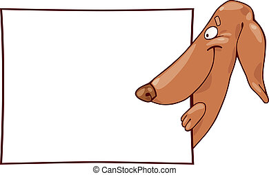 Dachshund dog and card - illustration of dachshund dog and...