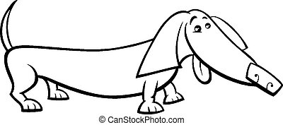 dachshund dog cartoon coloring page