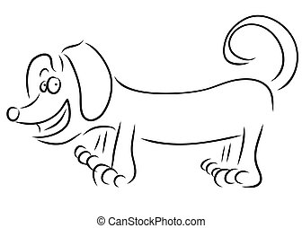 Dachshund dog breed, hand drawing. Vector illustration.