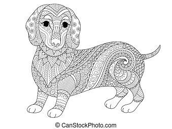 Dachshund dog - Zendoodle design of dachshund puppy for...