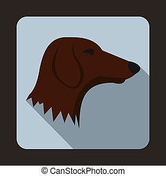 Dachshund dog icon, flat style