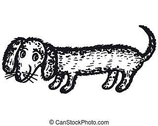 dachshund dog - hand drawn, cartoon, sketch illustration of...