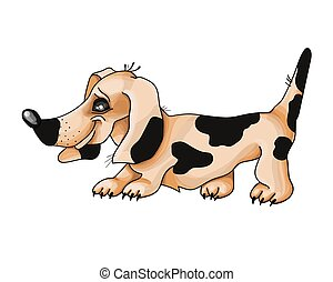 Dachshund Dog in a red background. Vector illustration.