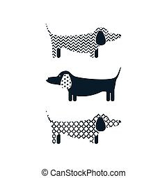 Dachshund dog tshirt cartoon design vector.