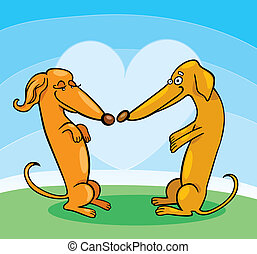 Dachshund Dogs in Love - Illustration of Dachshund Dogs in...
