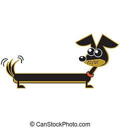 dachshund, kunst, spotprent, klem, dog