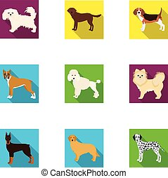 Dachshund, laika, poodle and other web icon in flat style. Boxer, rottweiler, bulldog, icons in set collection.