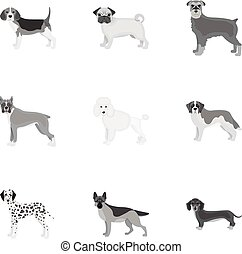 Dachshund, laika, poodle and other web icon in monochrome style. Boxer, rottweiler, bulldog, icons in set collection.