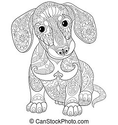 Dachshund puppy dog - Coloring page of dachshund puppy dog....