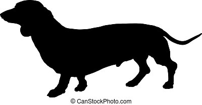 Dachshund Silhouette - A silhouette image of a standing male...