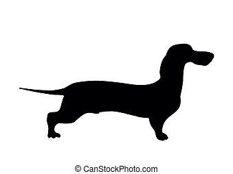 Dachshund silhouette. Black silhouette of a shortlegged Badger Dog