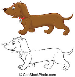 dachshund - Brown banger-dog, color and black-and-white...
