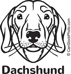 Dachshund vector black icon logo