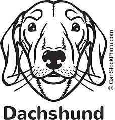 Dachshund vector black icon logo