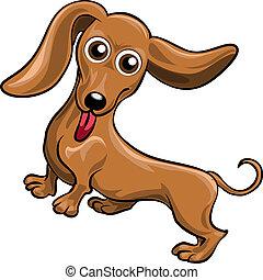Dachshund - Funny illustration with dachshund drawn in...