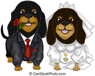 Dachshund Wedding with Clipping Path