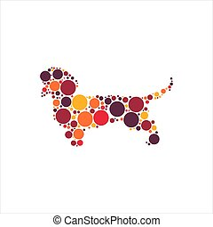 Dachshund with colorful circles vector illustration