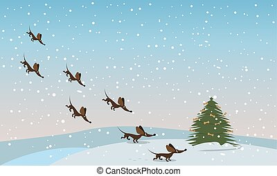 dachshunds fly to the tree