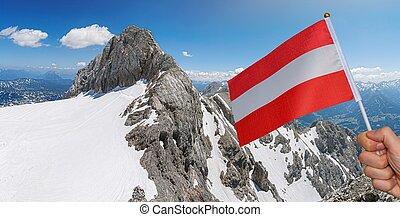dachstein, 光景, ramsau, ピークに達しなさい, 山, al, panoramatic