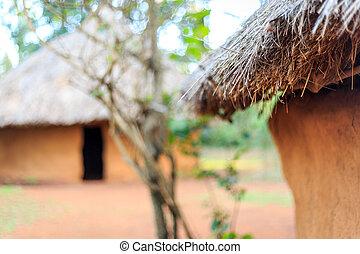 dachstroh, traditionelle , dorf, dach, afrikanisch