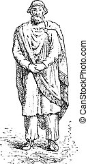 Dacian king or Sarmatian, vintage engraving. - Dacian king...
