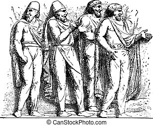 Dacian suits (Trajan column), vintage engraving.