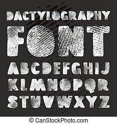 dactylogram, alfabeto, vector, textura, acción