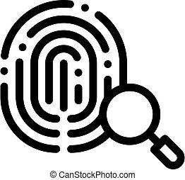 dactylogram, icono, huella digital, contorno, ilustración