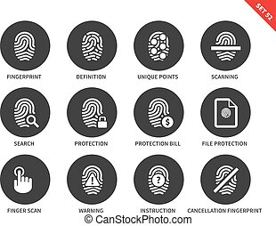 Dactylogram icons on white background - Fingerprint vector...