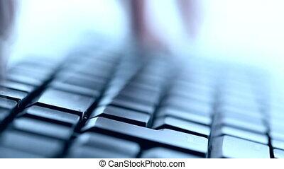 dactylographie, clavier, closeup, vue