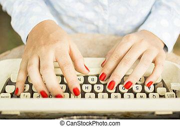 dactylographie, femme, machine écrire