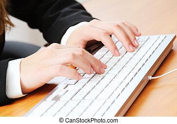 dactylographie, femme, quelque chose, clavier