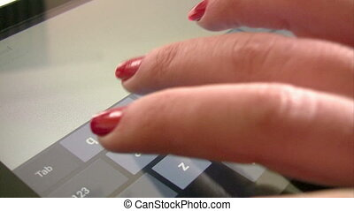 dactylographie, femme, tablette, numérique