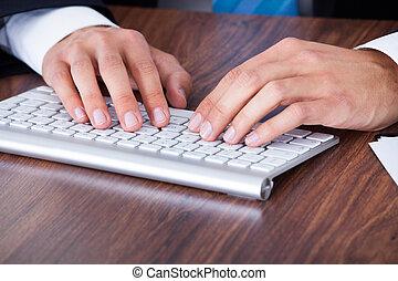 dactylographie, homme affaires, clavier ordinateur