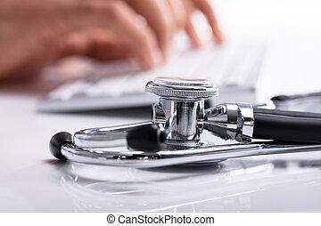 dactylographie, informatique, docteur, clavier