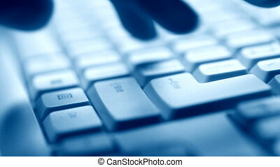dactylographie, main, clavier