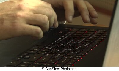dactylographie, ordinateur portable, mains, keyboard., texte