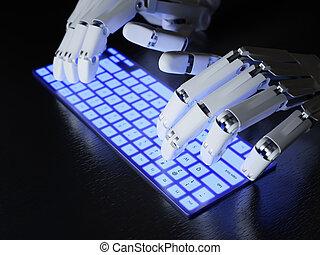 dactylographie, robot, clavier
