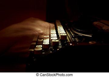 dactylographie, sur, a, vendange, machine écrire