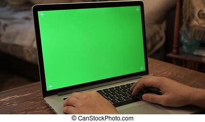 dactylographie, vert, laptop., homme, écran