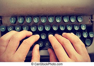 dactylographie, vieux, machine écrire